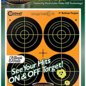 """Caldwell Orange Peel 4"""" Bulls-eye Targets 5 pack"""