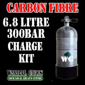HydroTech Carbon Fibre 6.8 ltr 300 BAR Air Gun Charging Kit